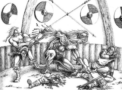 Beowulf And Grendel Fighting